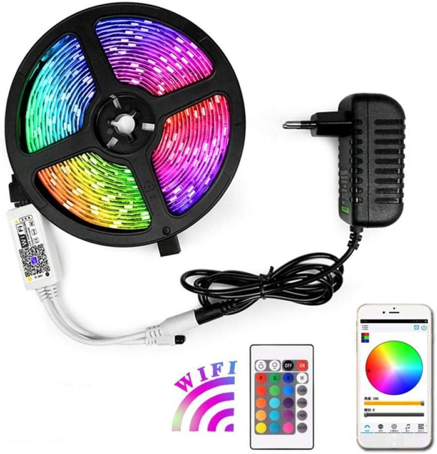 Tira de luz WIFI con pegamento a prueba de agua - RGB24 llave controlador inteligente armario de cocina TV fondo pared: Amazon.es: Iluminación