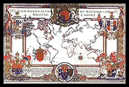 Amazon framed map of the commonwealth of nations or the british amazon framed map of the commonwealth of nations or the british empire 1937 by christian science monitor 18x12 art print poster vintage reproduction gumiabroncs Choice Image