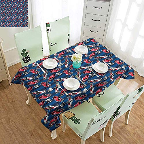 GUUVOR Cars Washable Long Tablecloth Vintage Racing Cars on Blue Stripes with Checkered Flags Automobile Sports Dinner Picnic Home Decor W54 x L84 Inch Navy Blue Red Black -