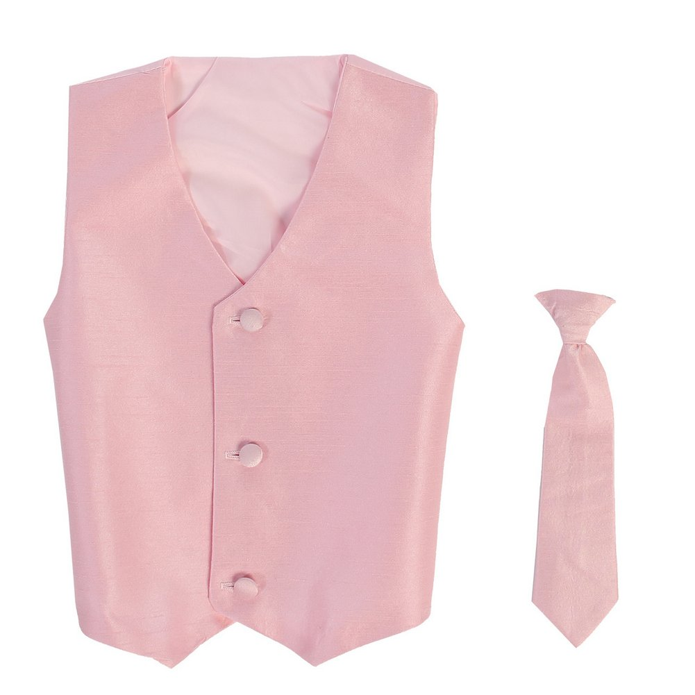 Lito Little Boys Pink Poly Silk Vest Necktie Special Occasion Set 2T-7