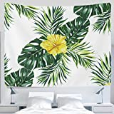 Urban Outfitters Curtains ALAZA Tropical Green Palm Leaves Floral Painting Tapestry Wall Hanging Artwork Light-weight Polyester Fabric Cottage School Dorm Wall Art Home Decoration 60x40 Inches