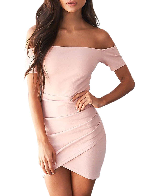 Azbro Mujer Vestido Ajustado Irregular Fuera de Hombro, rosa L: Amazon.es: Ropa y accesorios