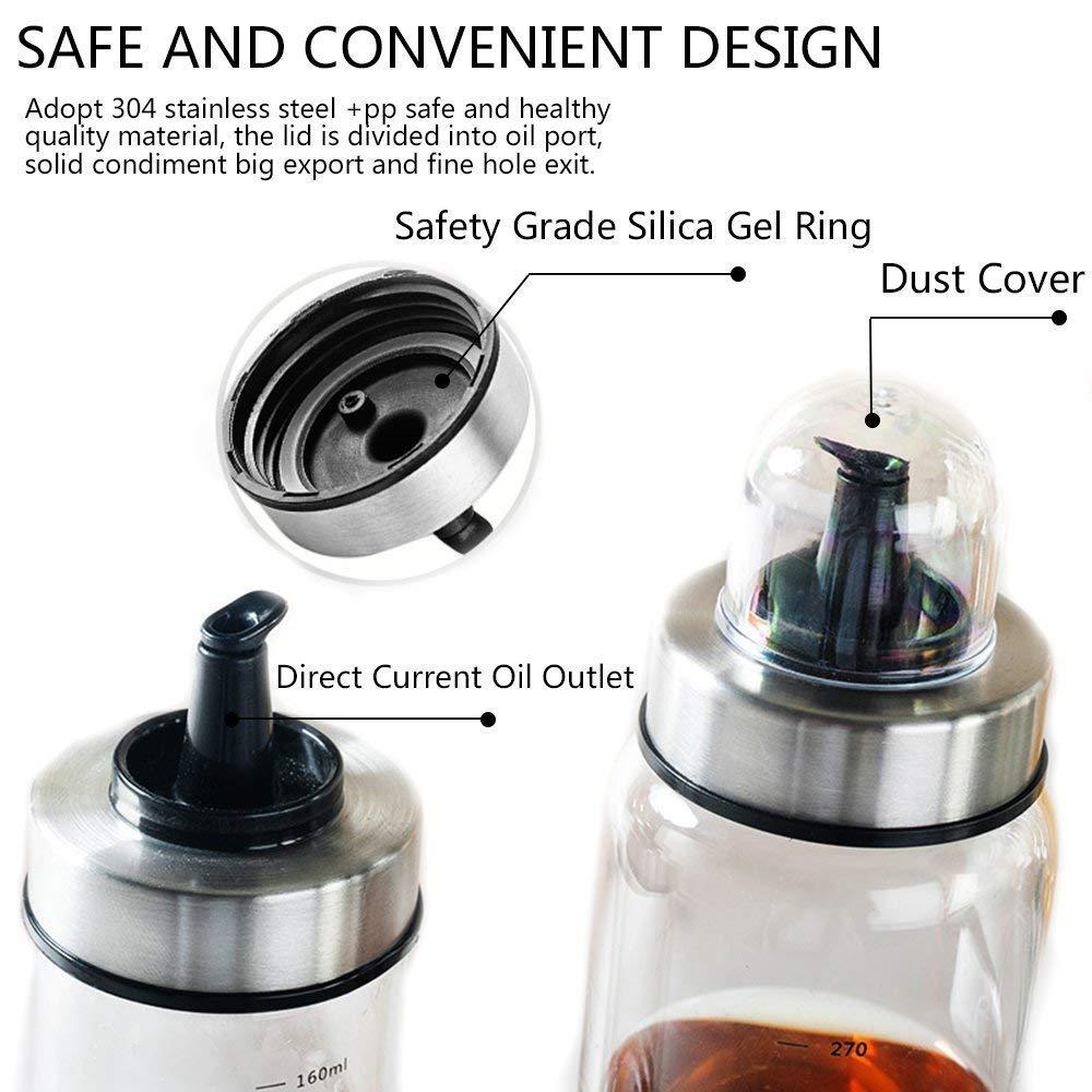 Fyuan 1pcs Dispensador de aceite de oliva y vinagre - 6 oz. Botellas de cristal transparentes para la cocción sin boquilla antigoteo.: Amazon.es: Hogar