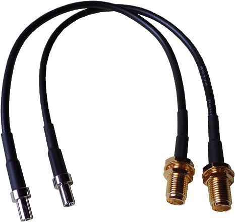 Pigtail adatto come pezzo intermedio per Cavo Antenna con spina SMA e Sticks, modem, minirouter con TS9/Antenna femmina Adattatore presa 20/cm con SMA e connettore TS9/ Confezione doppia per LTE