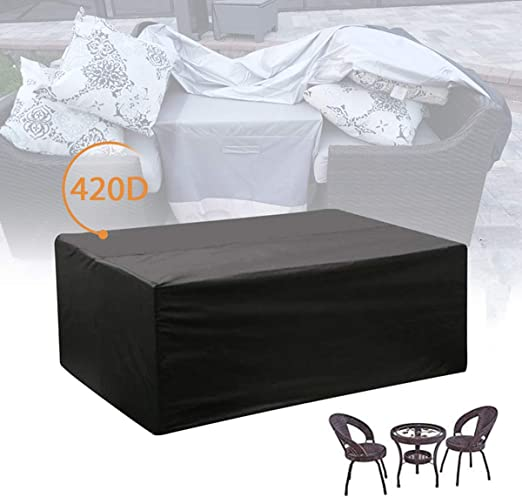 E.Enjoy Funda Protectora Muebles Jardín Cubierta Impermeable Anti-UV Heavy Duty 420D Oxford Tela ratán Muebles Cubierta for Cubo Conjunto, Patio, Exterior (Size : L*W*H:308X138X98cm): Amazon.es: Hogar