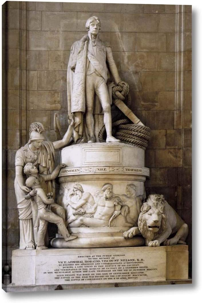 "Monument to Vice-Admiral Horatio Nelson by John Flaxman - 13"" x 20"" Gallery Wrap Canvas Art Print - Ready to Hang"