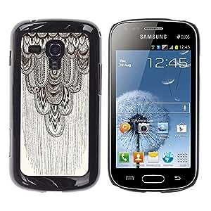 Beige Motif Feather - Metal de aluminio y de plástico duro Caja del teléfono - Negro - Samsung Galaxy S Duos S7562