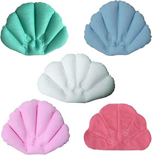 Inflatable Soft Cloth Bath Tub Pillow with Suction Cups for Comfort Neck Back