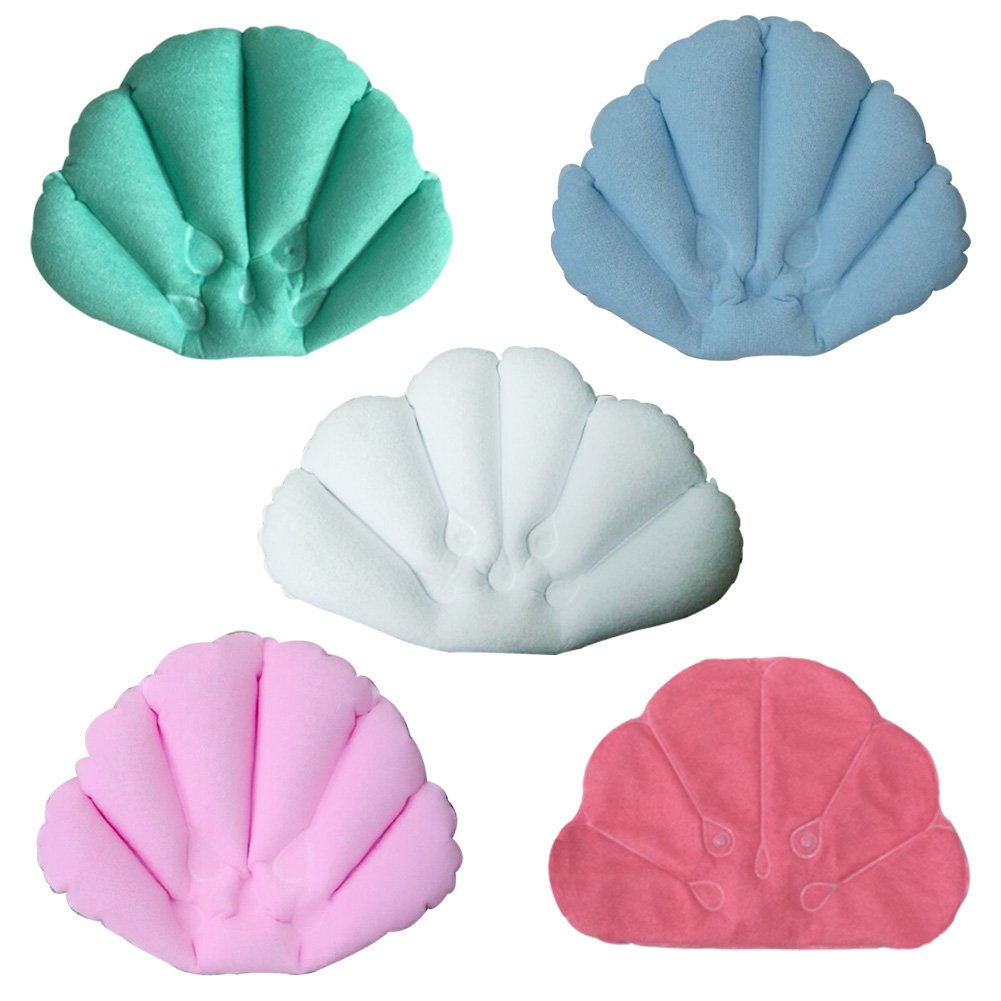 St.Mandyu Bathroom Inflatable Shell Shaped Spa Pillow Soft Back Neck Cushion for Bathtub, Random Color