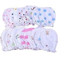 wyhweilong 5 pares de bebés recién nacidos mitones pequeños guantes de rasguño en colores pastel 100% algodón 0-6 meses