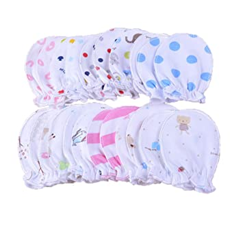 b0003ea57830 5 paires Moufles bébé moufles nouveau-né Pastel Les rayures coton 0–6 mois