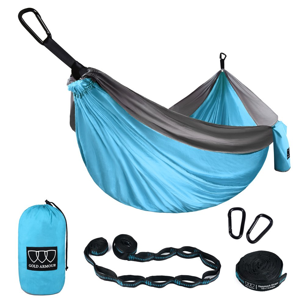 XL Double Parachute Camping Hammock - Tree Portable with Max 1000 lbs Breaking Capacity - FREE 16 Loops Tree Strap & Carabiners For Backpacking, Camping, Hiking, Travel, Yard (Sky Blue / Gray)