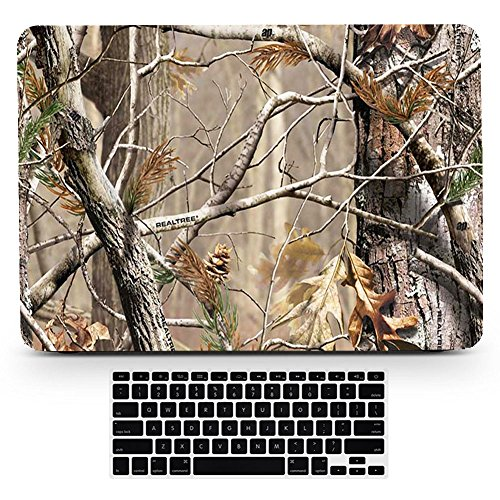 Bizcustom Macbook Pro13 Touchbar Realistc Camo Tree Leaves Hard Rubberized Paint Case Plastic Cover for Mac Book Pro 13 w./out Touch bar Model A1706/A1708 with Retina - Macbook Camo Pro Case Retina 13