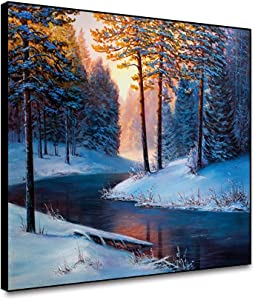Renaiss 20x16 Inches Winter Landscape in Snow Forest Canvas Wall Art Snow Covered Pine Tree Snowy Forest Picture Giclee Print for Farmhouse Living Room Kitchen Office Bedroom Wall Decor Unframed