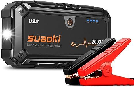 Suaoki U28 2000a Auto Starthilfe Powerbank Tragbare Autobatterie Anlasser Fur Alle 12v Autogas Y Diesel Mit Usb Power Bank Lcd Display Und Intelligenten Sicherheitsklemmen Amazon De Auto