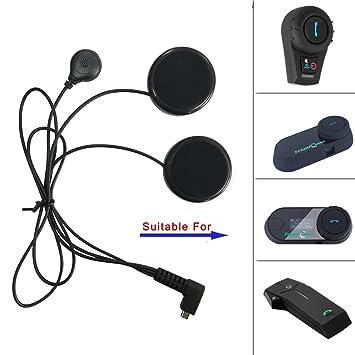FreedConn - Altavoces para casco de motocicleta y micrófono con cable suave, para todos los