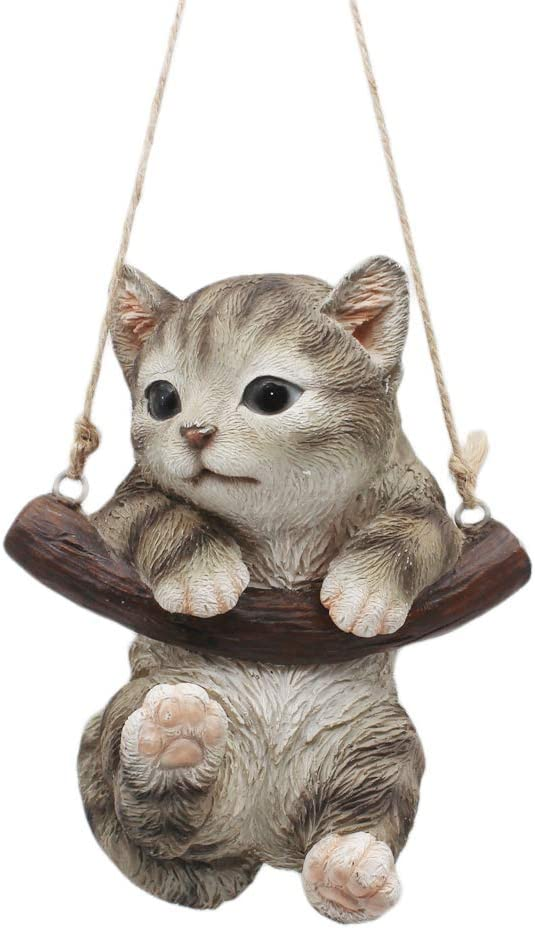 """CITONG 6"""" Hanging Cat Home and Garden Decor Swing Statue (Grey)"""