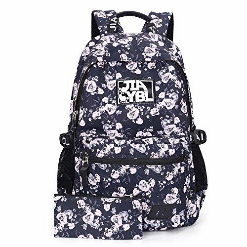 Neuleben Fashion Schulrucksack + Mäppchen Laptopfach Wasserdicht Blumenmuster Rose für Mädchen Damen Schule Schulranzen (Weiß)