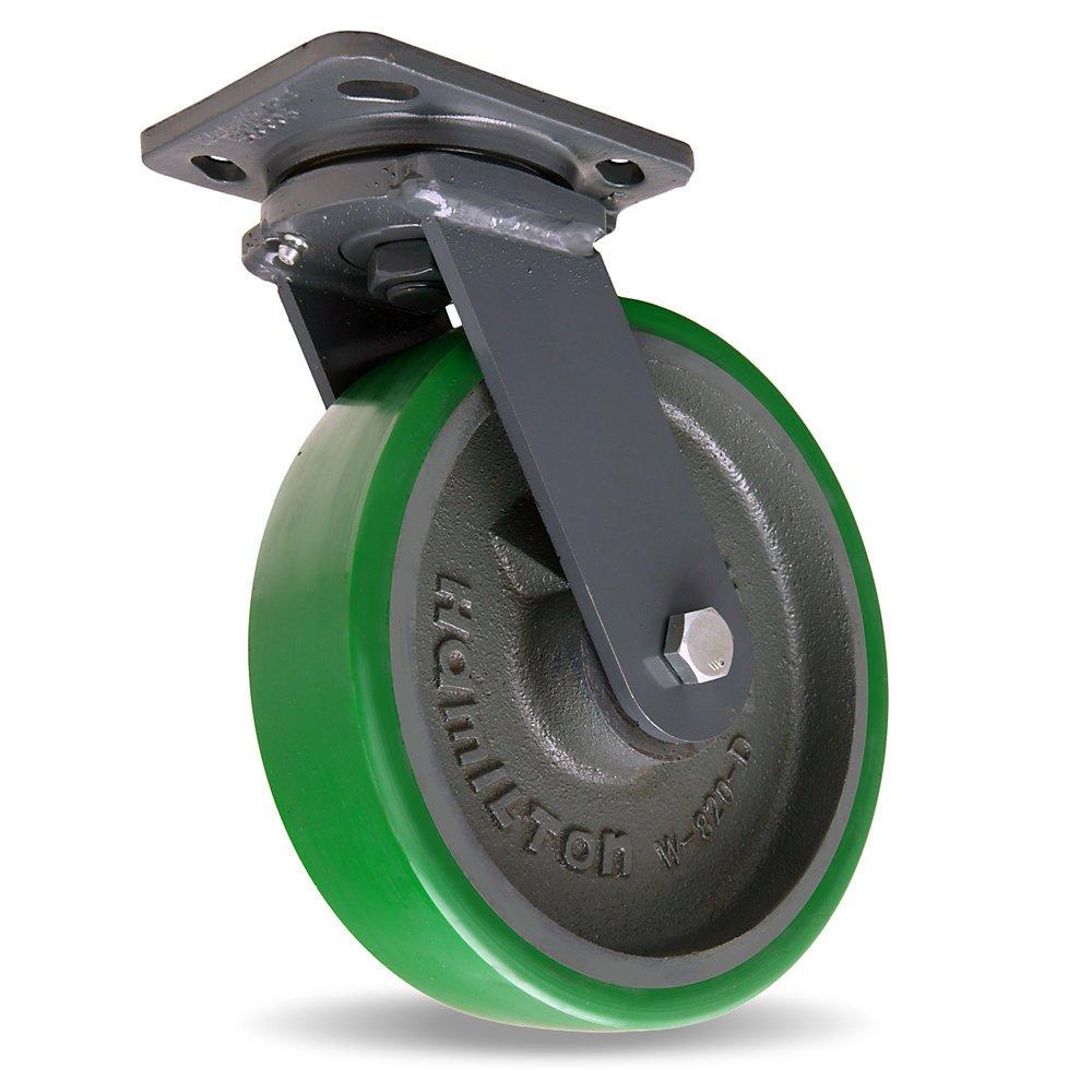 Hamilton Workhorse Caster - 8''Dia.X2''W Duralast Polyurethane Wheel - 1500-Lb. Capacity - -1/2'' Sealed Precision Ball Bearings - Swivel - Green