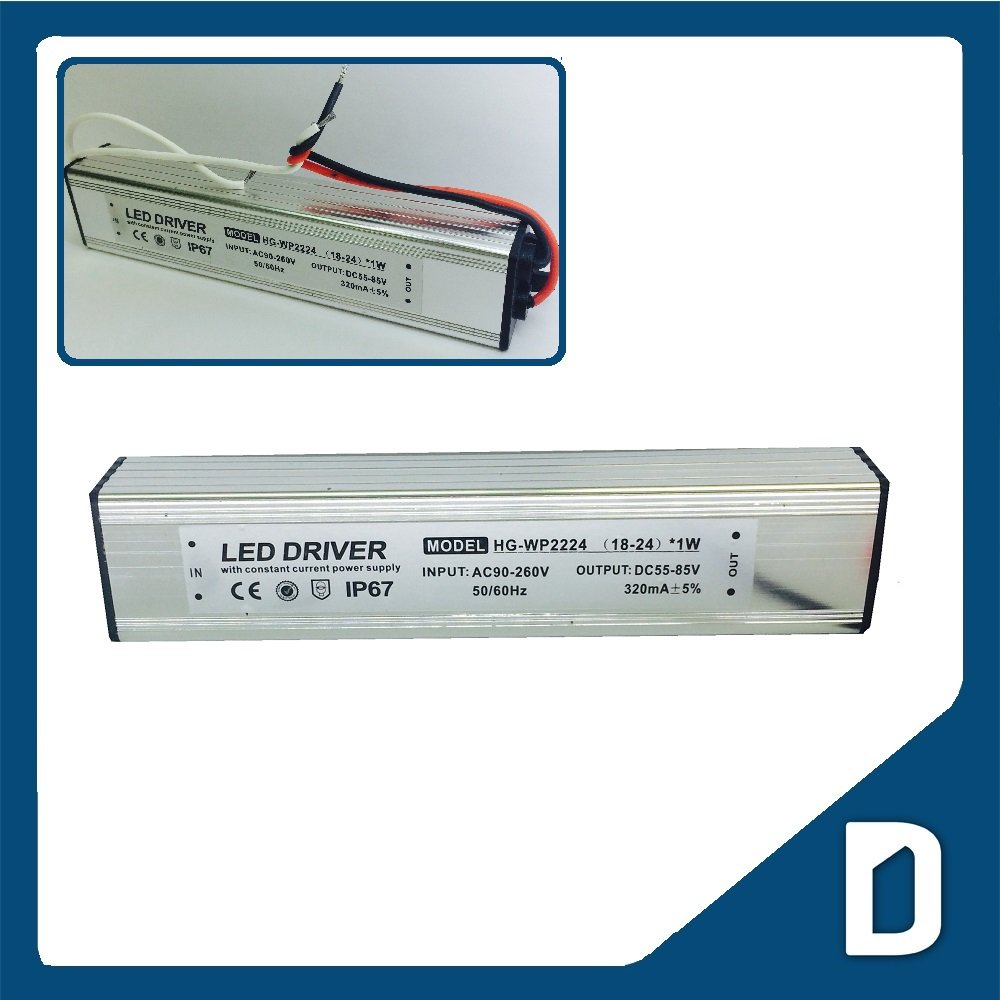 DC55 to 85V 320mA output High Power LED Driver (handle 18 to 24pcs of 1W High Power LEDs) - IP67 Waterproof - Electricity Converter for LED High Power Light Strip Cord Ribbon Rope Module Electronic Regulated DC Electric Source Indoor and Outdoor