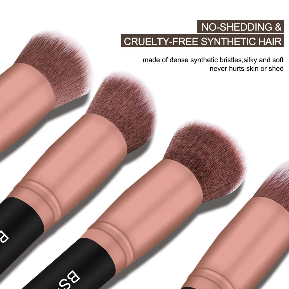 BS-MALL Makeup Brushes 18pcs Premium Synthetic Professional Eye Brushes Kit for Blending Eyeshadow Concealer Eyeliner Eyebrow(Rose Gold): Beauty