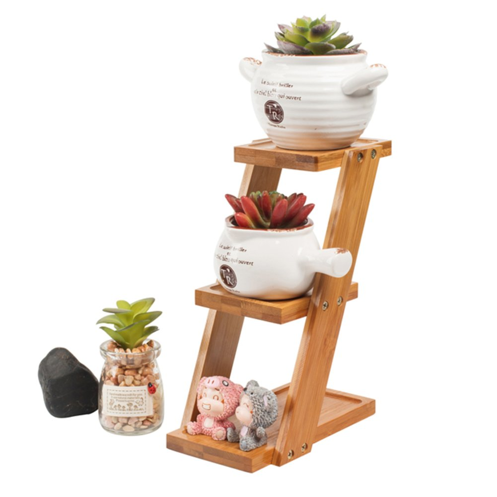 Plant flower stand 3 tier corner shelf flower pots, Solid wood Ladder-shaped plant flower stand Desktop small flower stand Succulent plant stand Balcony Bamboo Flower stand indoor-A xnhmnm