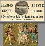 1800's Coin Purse Irish Wedding Fiddle P. Brigham Boston Cox Shoe Adv Trade Card