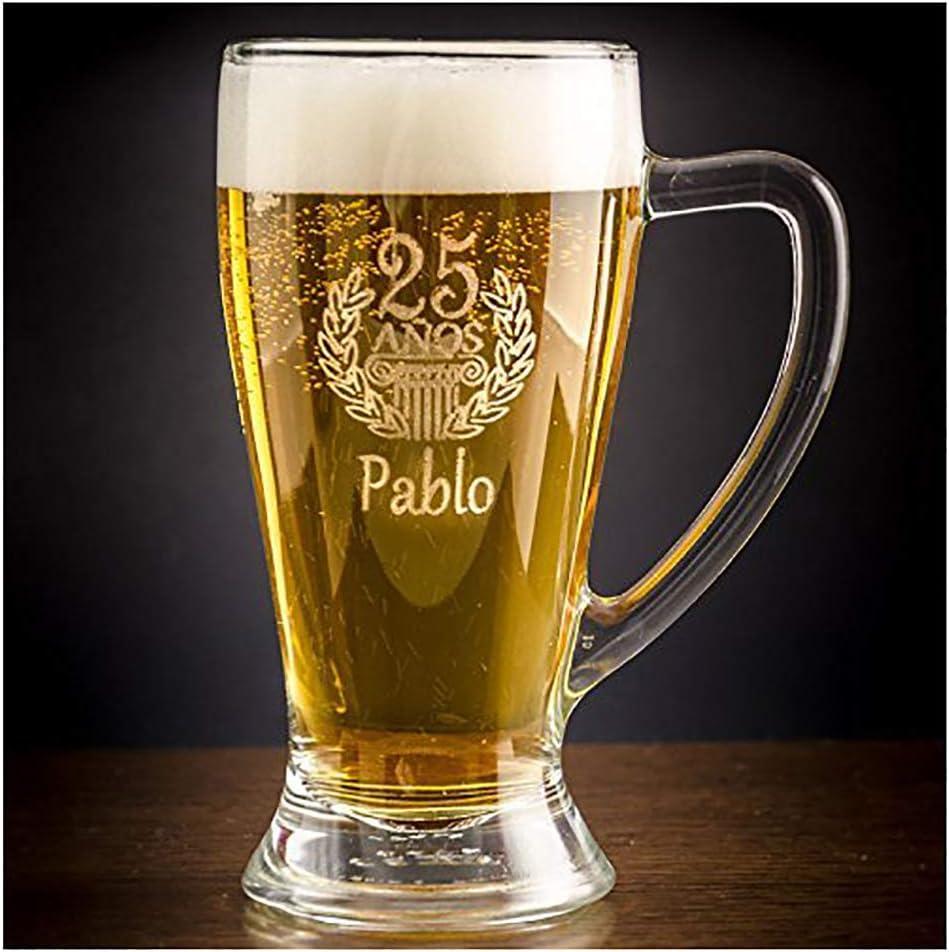 Calledelregalo Regalo de cumpleaños Personalizable: Jarra de Cerveza Baviera grabada con su Nombre y Edad