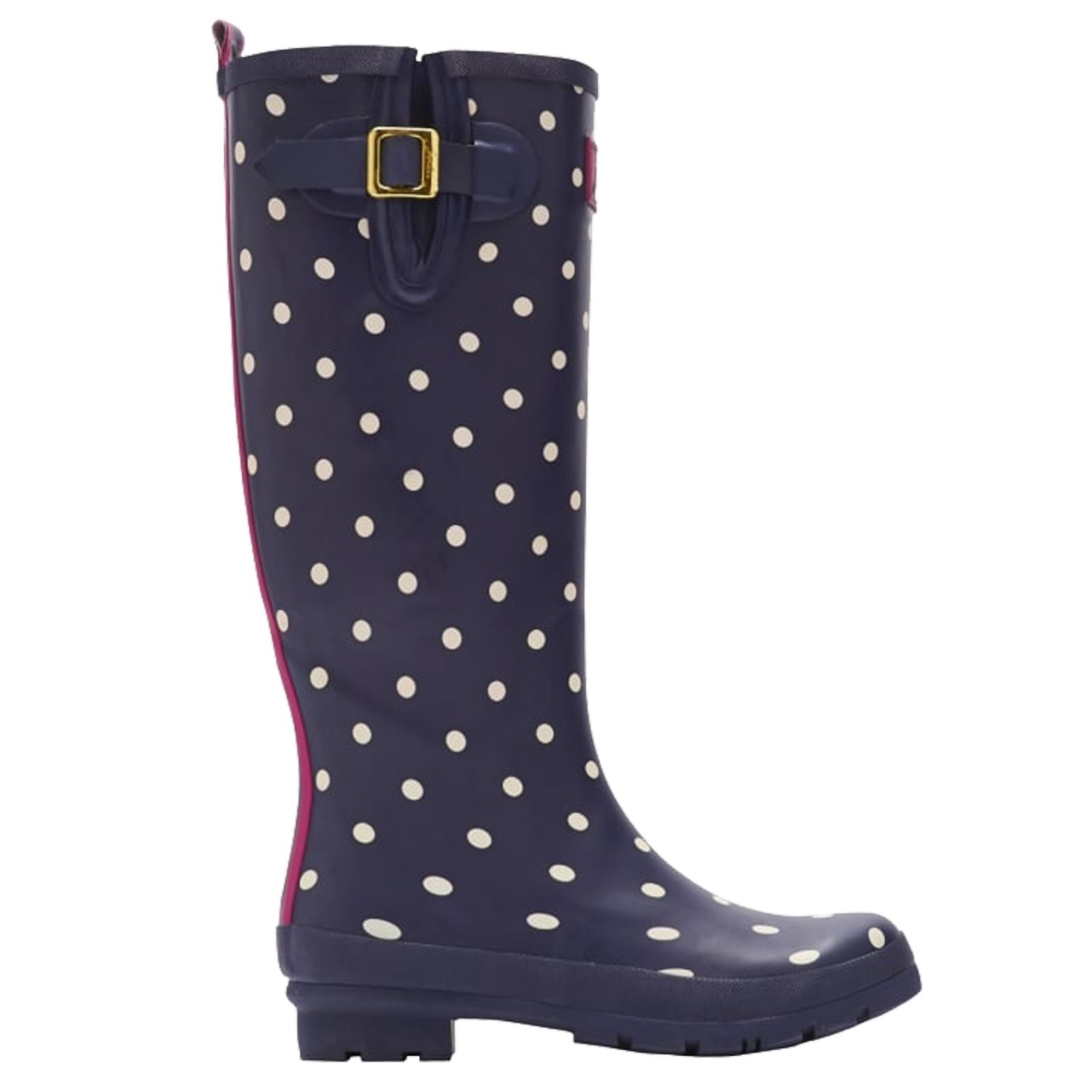 Joules Womens Polka Dot Tall Blue Rubber Boots 6 US