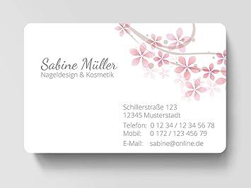 100 Visitenkarten Laminiert 85 X 55 Mm Inkl Kartenspender Blüte Rosa
