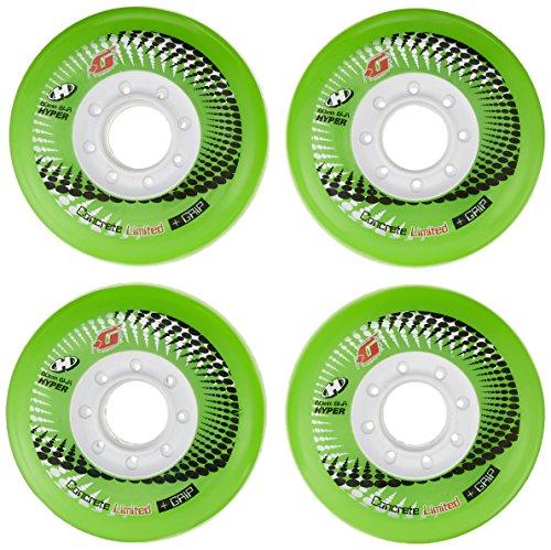 HYPER CONCRETE+G GREEN 80MM/84A (4 WHEELS per pack) - inline wheels for freeride, recreational and slalom - inline hockey wheels - roller blade wheels - outdoor skate wheels ()