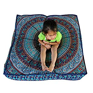 Third Eye Export - Indian Mandala Floor Pillow Square Ottoman Pouf Daybed Oversized Cushion Cover Cotton Seating Ottoman Poufs Dog / Pets Bed (Blue 2)
