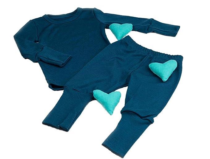 d0250fd972 Kid s Pyjamas Set Girl Boy Unisex Toddler Nightwear PJs Pajama 100% Merino  Wool 1 Year