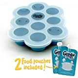 Silicone Freezer Tray for Baby Food Storage - With Bonus 2 Reusable Pouches - BPA Free Freezer Cube Container with Lid for Homemade Puree, Ice, Breastmilk & Baking. 1.5oz Portions