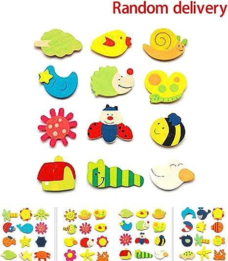 24PCS Animal Wooden Fridge Magnet Sticker Refrigerator Education Toy Home DIY A