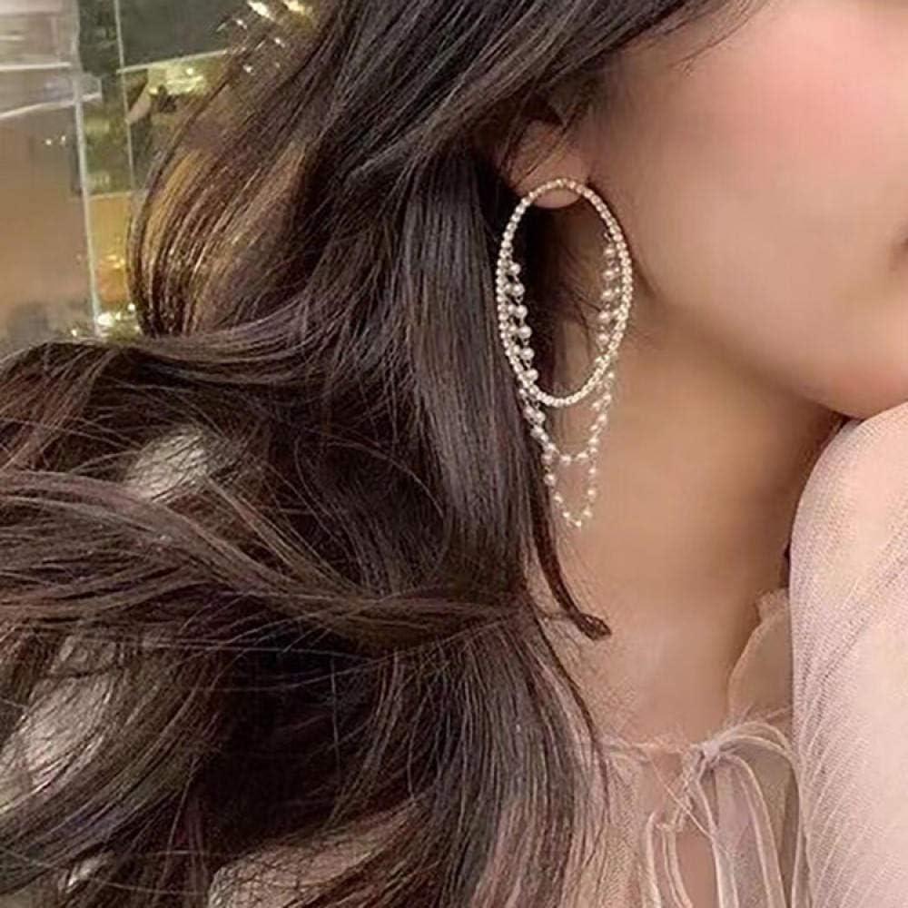 Erin Earring Pendientes Colgantes De Anillo Ovalado De Diamantes De Imitación Brillantes Y Exagerados, Simulación De Mujer, Perla, Perla, Borla, Elegante Colgante