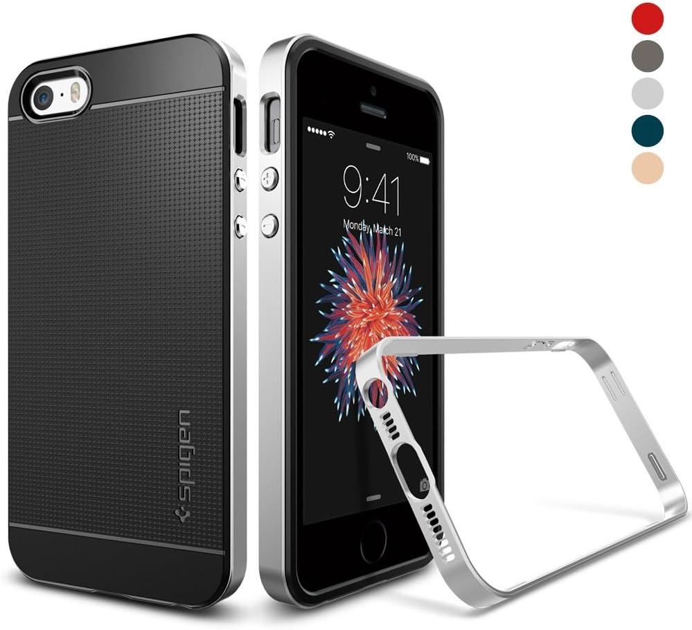 Housse de iPhone se Spigen® iPhone 5S/5/SE portables [Neo Hybrid] Protection Double Couche Cadre [Argent satiné] métalliques touches/Transparent TPU ...