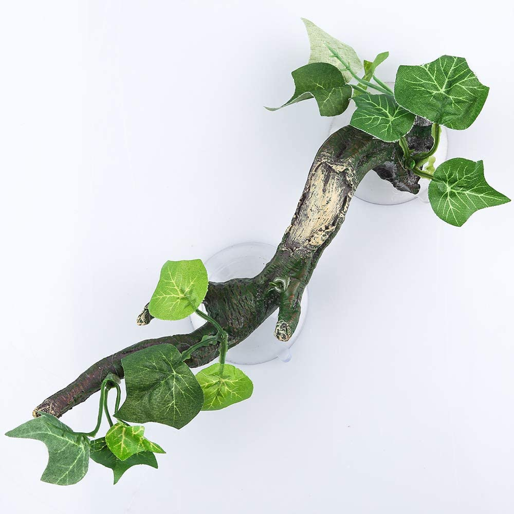 Aqua KT Reptile Corner Branch Terrarium Plant Decoration with Suction Cup for Amphibian Lizard Snake Climbing