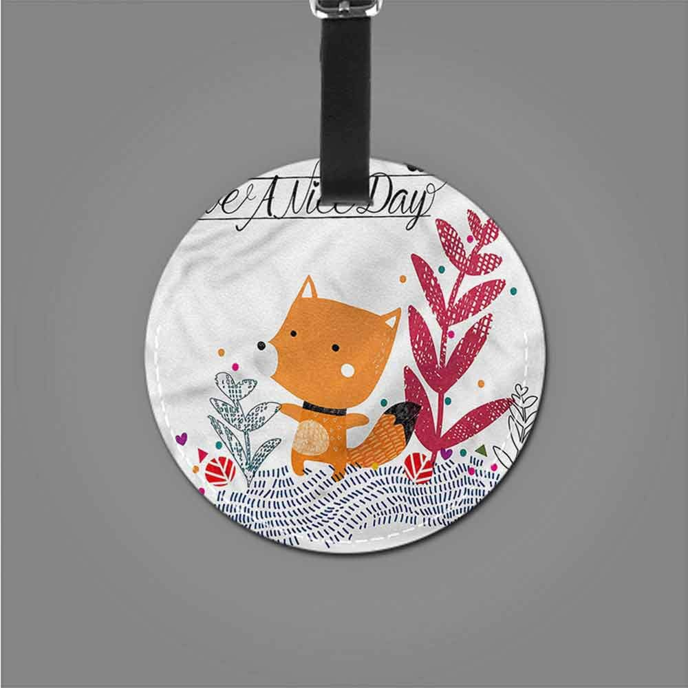 Round Leather Luggage Fox,Autumn Season Flora Fauna Tag Portable Women