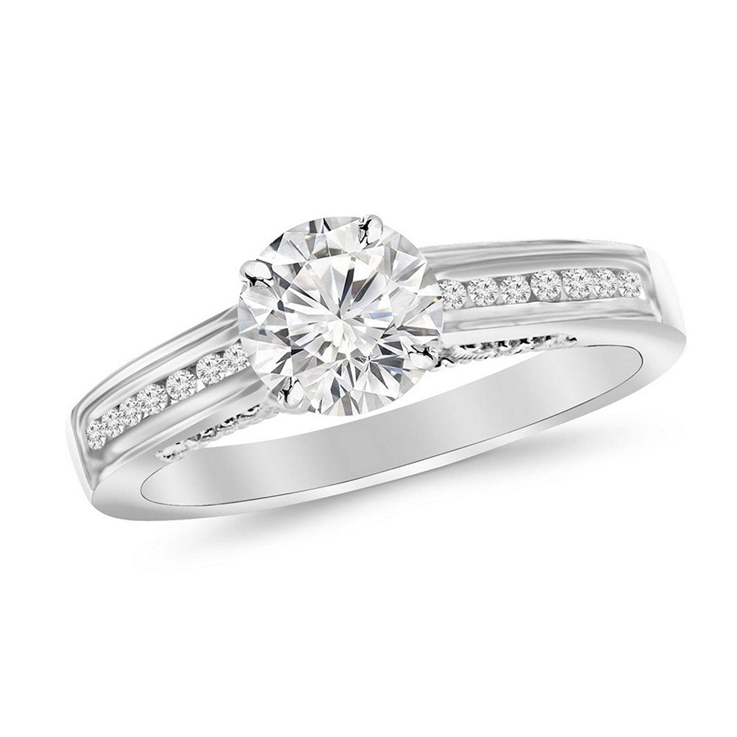 0.5 Cttw 14K White Gold Round Cut Channel Set Round Diamond Engagement Ring with a 0.3 Carat D-E Color SI1-SI2 Clarity Center