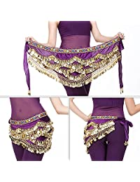 Belly Dancing Hip Scarf, 2Colors Belly Dancing Hip Scarf Wrap Skirt Bellydance Waist Belt with Artificial Coin Tassel(Purple)