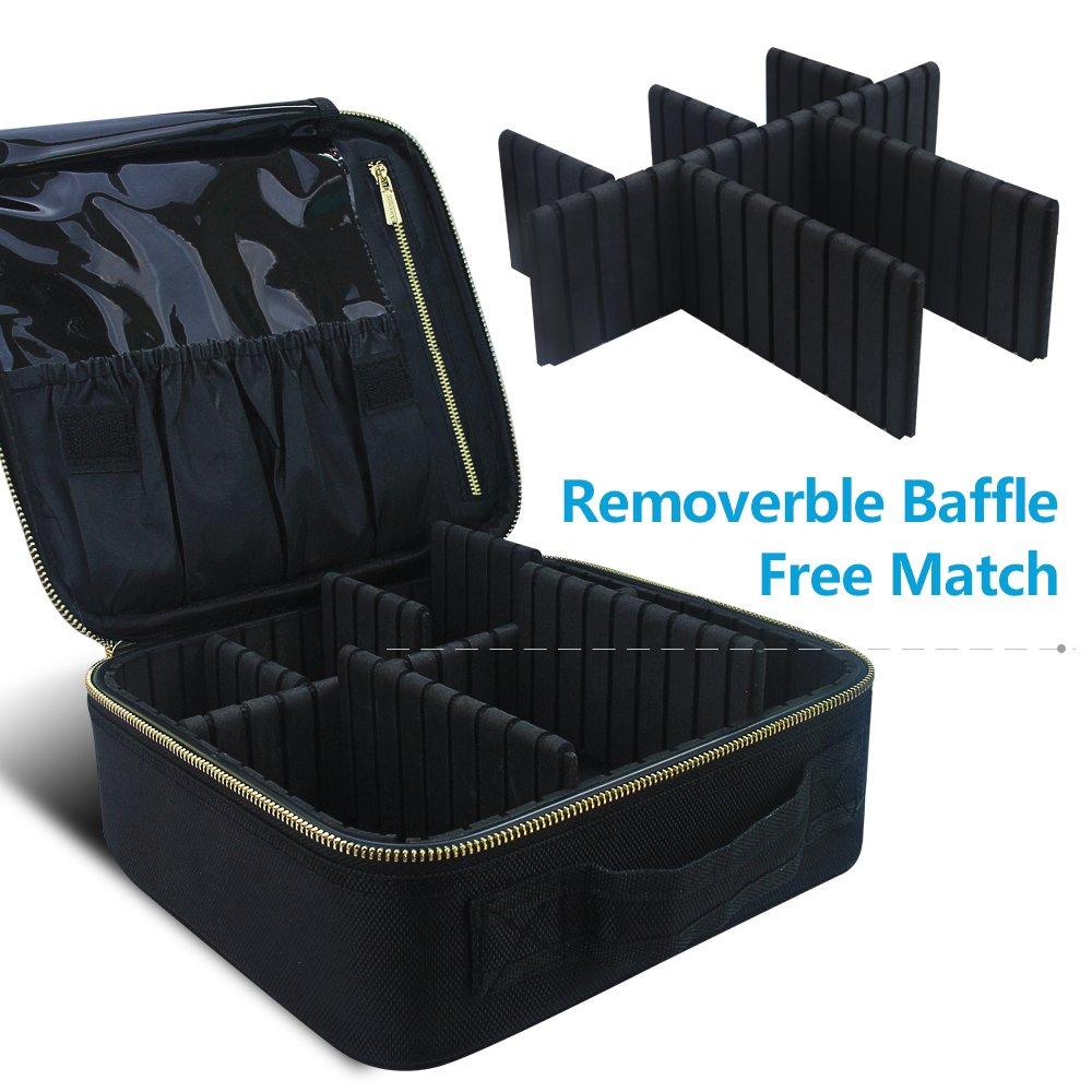 Travel Makeup Case,Samtour- Professional Cosmetic Makeup Bag Organizer,Accessories Case, Tools case (Black-M) by Chomeiu (Image #8)