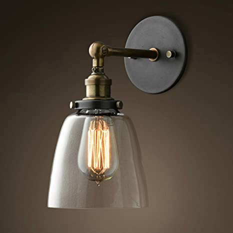 Lixada Vintage Glass Wall Sconces Adjustable Industrial Edison Wall Lamps  Retro Wall Bedroom Stair Mirror Lamps