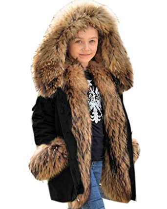 c2367009d7357 Aox Girls Boys Unisex Winter Faux Fur Hoodie Camo Coat Kids Warm Thicken  Jacket: Amazon.co.uk: Clothing