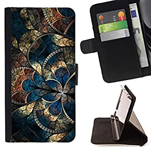 For HTC DESIRE 816 Case , Oro azul iridiscente Mosaique- la tarjeta de Crédito Slots PU Funda de cuero Monedero caso cubierta de piel