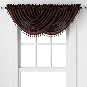Regal Home Collections 2-Pack: Beaded Emerald Crepe Waterfall Valances - Assorted Colors (Coffee Bean)