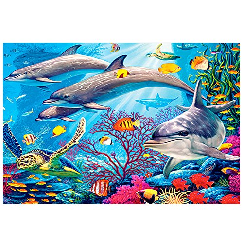 Price comparison product image DIY 5D Diamond Painting Kit Round Diamond Sticker Stitch Painting Sets Full Drill Painting Arts Craft for Home Wall Decor (Dolphin Pattern)