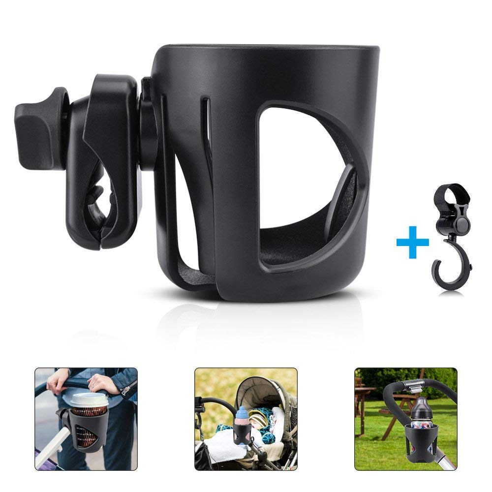 Stroller Cup Holder, UWOOD Universal Pushchair Cup Holder, ABS Adjustable Baby Bottle Organizer for Stroller, Baby Buggy and Bike