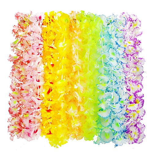 APLANET 20pcs Hawaiian Luau Leis Hawaiian Necklaces, 10 Styles, for Tropical Theme Activity and Beach Party Dance Decorations