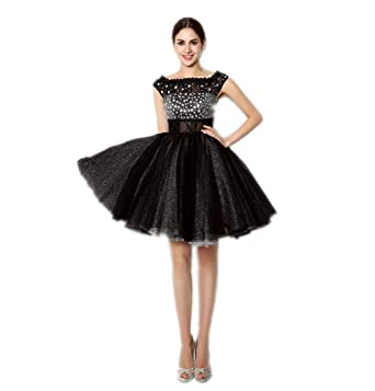 f2c182d97 MLT Women's Short Black Beads Mini Cocktail Prom Dress Gowns at ...